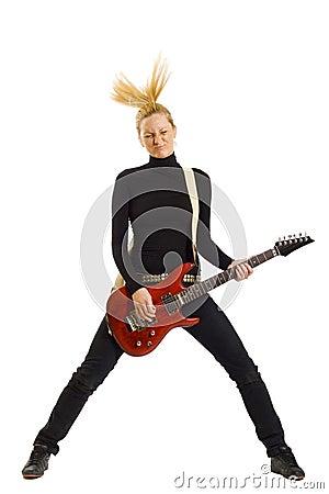 Headbanging rock girl