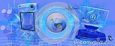 Header blue e-commerce and technology