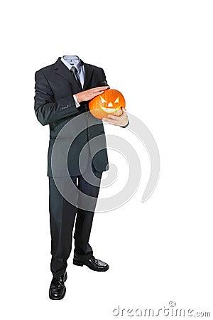 Headless Businessman with Halloween Pumpkin