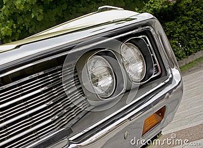 Headlight of american muscle car