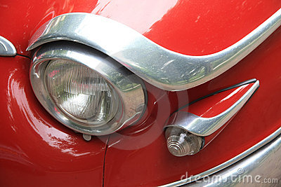 Headlight detail of a vintage French car