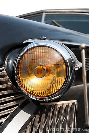 Headlight of old american car