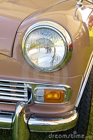 Headlight in red england mini vintage car