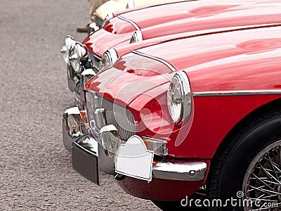 Headlights of a vintage car on a car-show