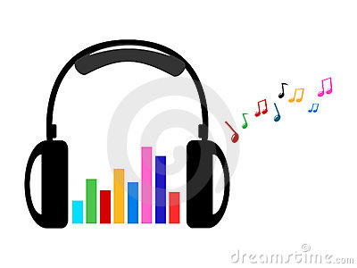 Headphone and colorful volume and music notes