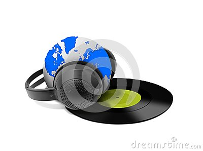 Headphone and globe with vinyl record