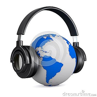 Headphone and globe on white background