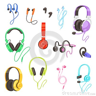 Headphone vector headset listening to stereo sound music earphones and modern audio dj equipment illustration set of Vector Illustration