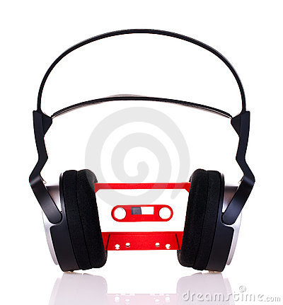 Headphones on a audio cassette