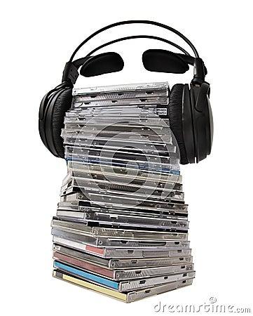 Headphones on CD heap
