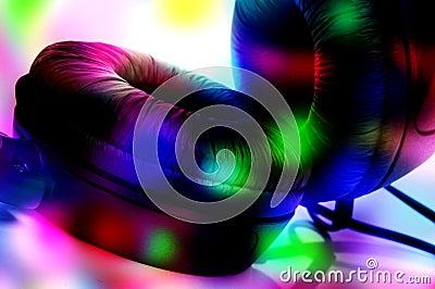 Headphones and flashing lights