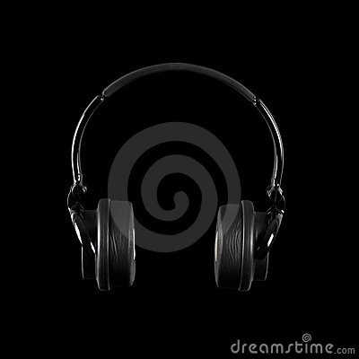 Headphones Isolated on a Black Background
