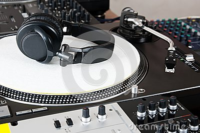 Headphones, mixer and turntable