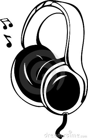 Headphones and music vector