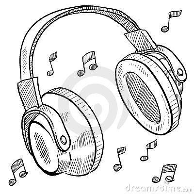 Doodle style headphones vector illustration with musical notes.