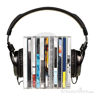 Free Headphones On Stack Of CDs Stock Images - 10151004