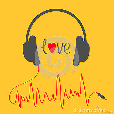 Headphones with red cord in shape of cardiogram trackline. Love card. Music icon. Black text heart. Yellow background. Vector Illustration