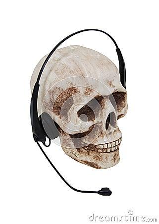 Headphones on a skull