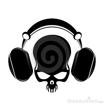 Headphones and skull