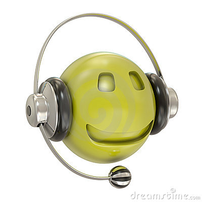 Headphones and smiley character