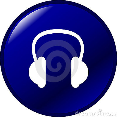 headphones vector button