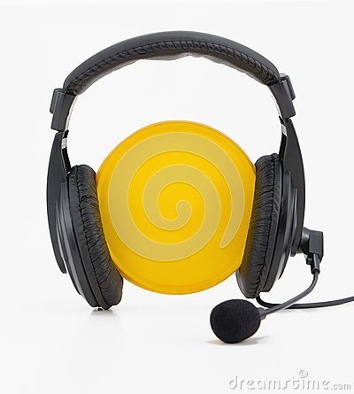 Headphones yellow circle