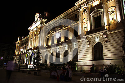 Headquarters of the National Bank of Romania at night Editorial Photography