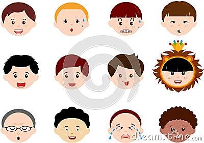 Heads of Boys, Men, Kids (Male) Different ethnics