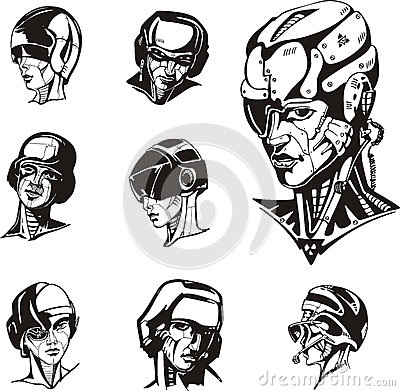 Heads of cyborg women