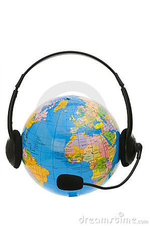 Headset on globe isolated