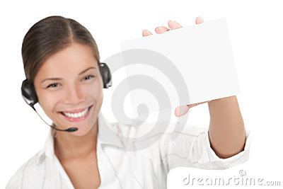 Headset woman holding sign