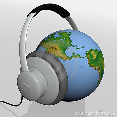 Headset on world globe