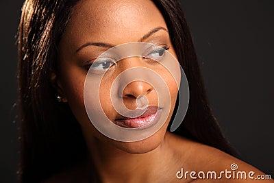 Headshot of beautiful serene black woman