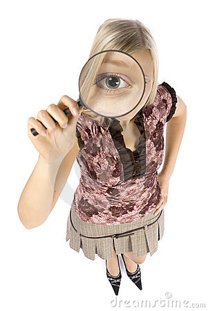 Free Headshot Of Young Blonde Woman With Magnifying Glass Royalty Free Stock Image - 1360616