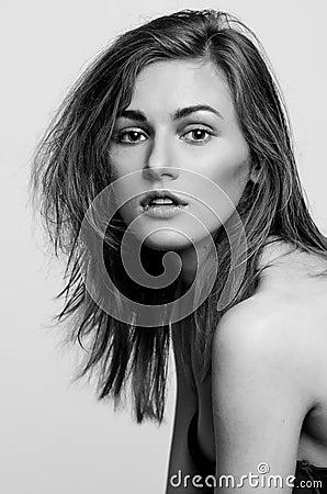 Free Headshot Portrait, Black And White Fashion Model Girl Royalty Free Stock Image - 94444106