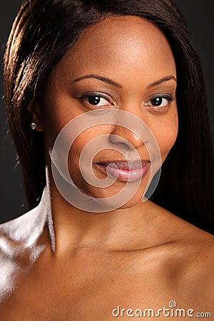 Headshot of stunningly beautiful black woman
