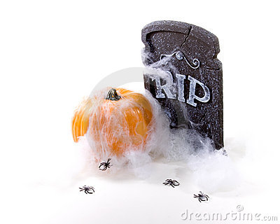 Headstone, Pumpkin, Spider, web