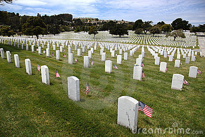Headstones and Flags at National Cemetery