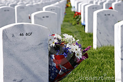 Headstones and Flowers in National Cemetery