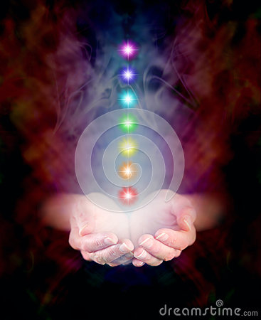 Free Healing Hands And Seven Chakras Royalty Free Stock Photos - 40903178