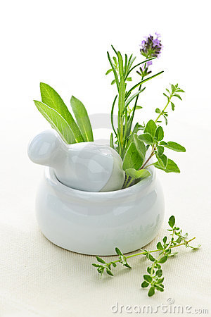 Free Healing Herbs In Mortar And Pestle Stock Photography - 14999942
