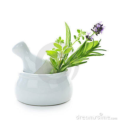 Healing herbs in mortar and pestle