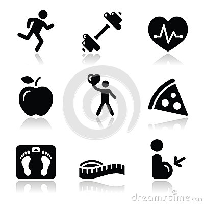 Free Health And Fitness Black Clean Icons Set Royalty Free Stock Images - 26172619