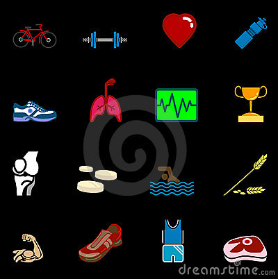 Free Health And Fitness Icon Set Series Royalty Free Stock Image - 1548286
