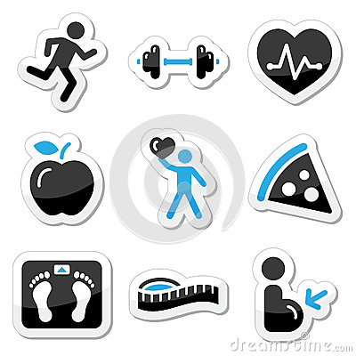 Free Health And Fitness Icons Set Royalty Free Stock Photos - 25661478