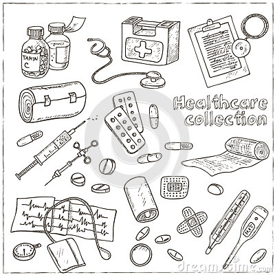 Health care and medicine drawings sketches stock vector for Drawing packages