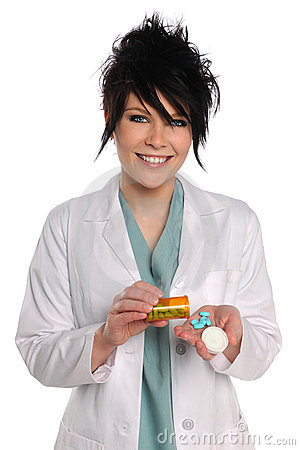Health Care Professional With Prescription Drugs