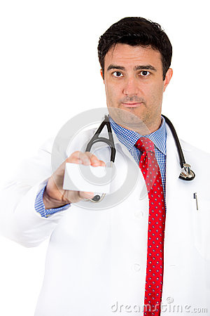 Health care professional showing business card