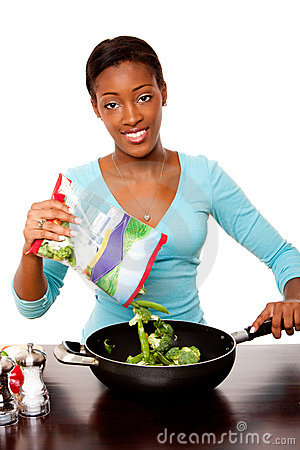 Health conscious woman preparing vegetables