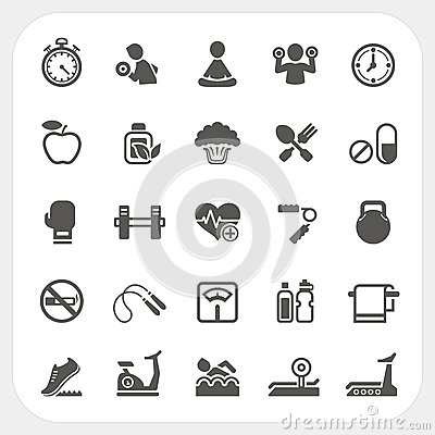 Health and Fitness icons set